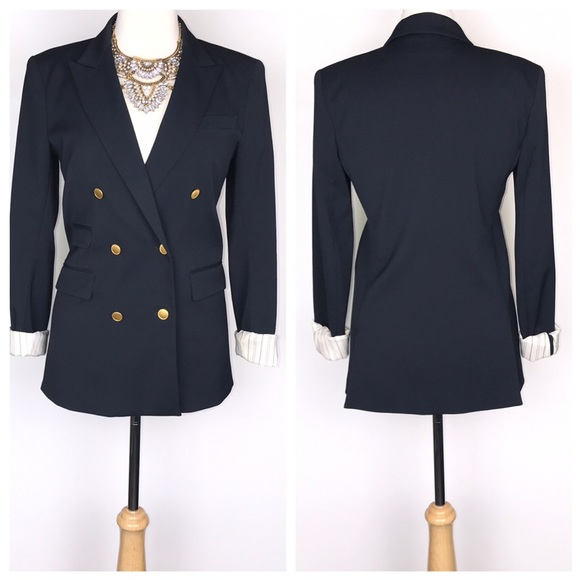 e01c2715 Theory Navy Double Breasted Blazer Gold Buttons. M_5c637287951996b18ff44f3c